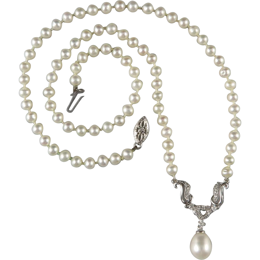 14k white gold diamond and cultured pearl necklace 18