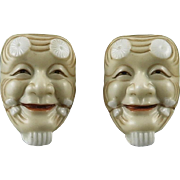 Toshikane Porcelain Noh Mask Earrings