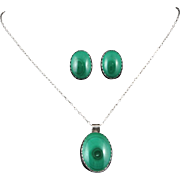Vintage Malachite Pendant and Earrings Set