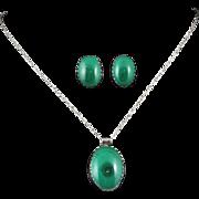 Vintage Malachite Pendant and Earrings Set