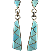 Inlaid Turquoise and Sterling Silver Dangle Earrings