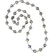 """Chinese Enamel on Silver Filigree Bead Necklace 31"""""""