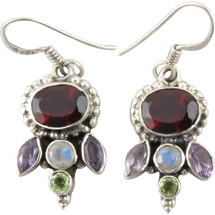 large garnet with multi gemstone accent earrings in