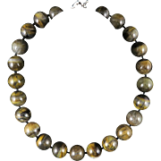 Large Shimmering Tiger Eye Agate Bead Necklace 19.5""