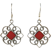 Sterling Silver and Red Stone Dangle Earrings