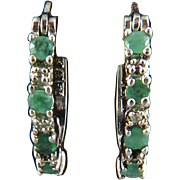 Natural Emerald and Sterling Silver Hoop Earrings
