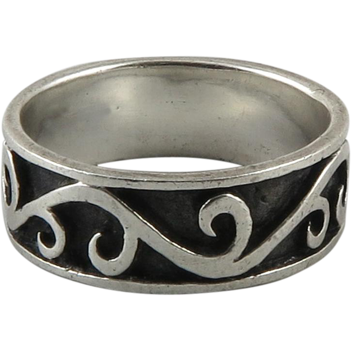 carved sterling silver wave ring from raretreasures on