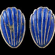 14K Carved Lapis Clam Shell Omega Back Earrings