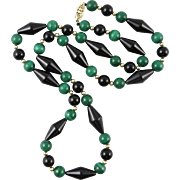 "Malachite and Black Onyx Necklace 24.5"""