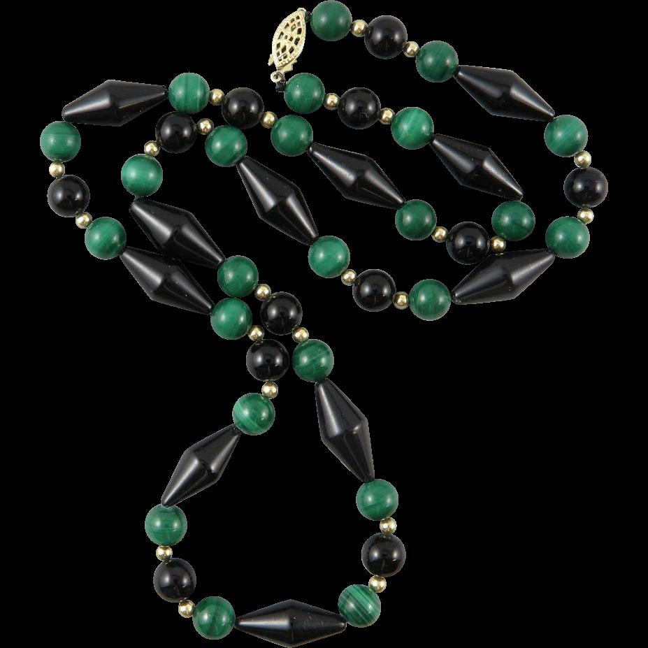 Malachite and Black Onyx Necklace 24.5