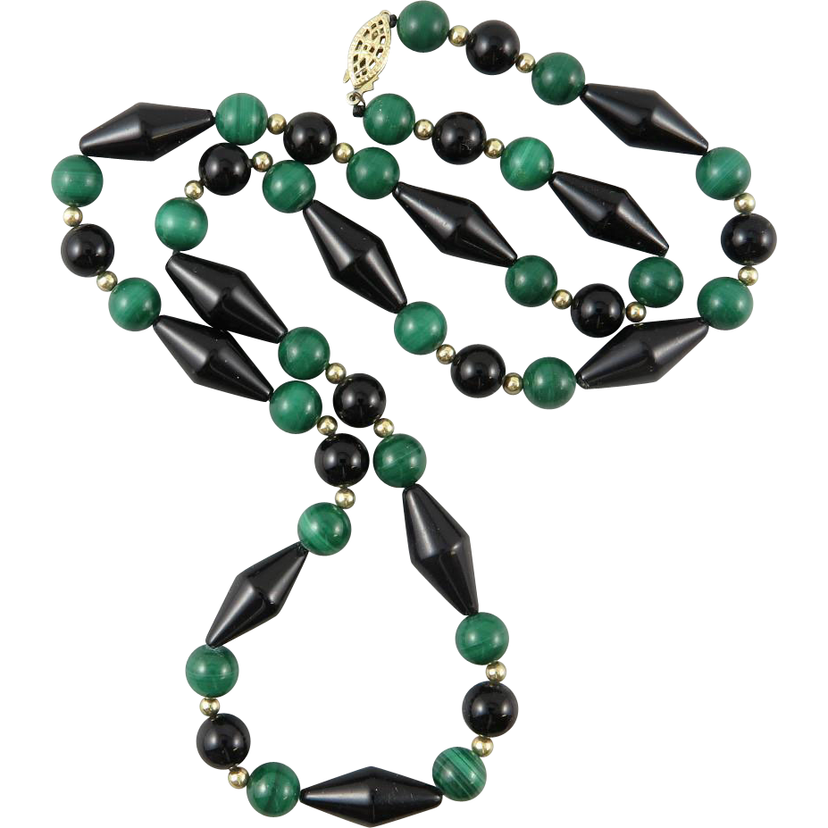 Malachite and Black Onyx Necklace 24.5""