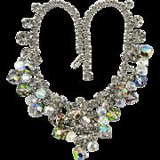 Juliana Sparkling Black Diamond Rhinestones and Aurora Borealis Bead Necklace
