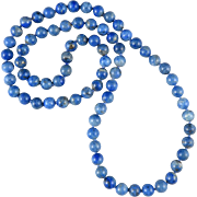 Blue Denim Lapis Bead Necklace 32""