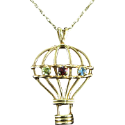 14K Bejeweled Hot Air Balloon Pendant