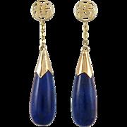 14K Chinese Lapis Teardrop Dangle Earrings