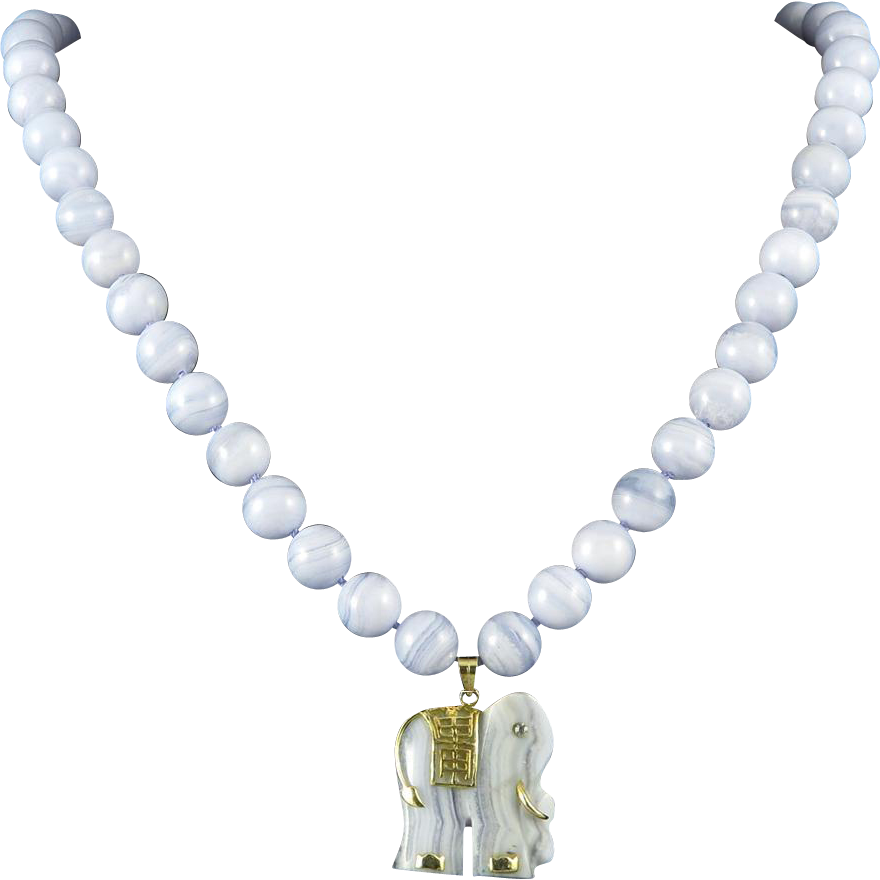 blue lace agate elephant necklace 24 quot from raretreasures