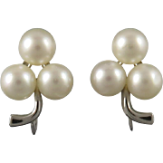 14K White Gold and Akoya Cultured Pearl Earrings