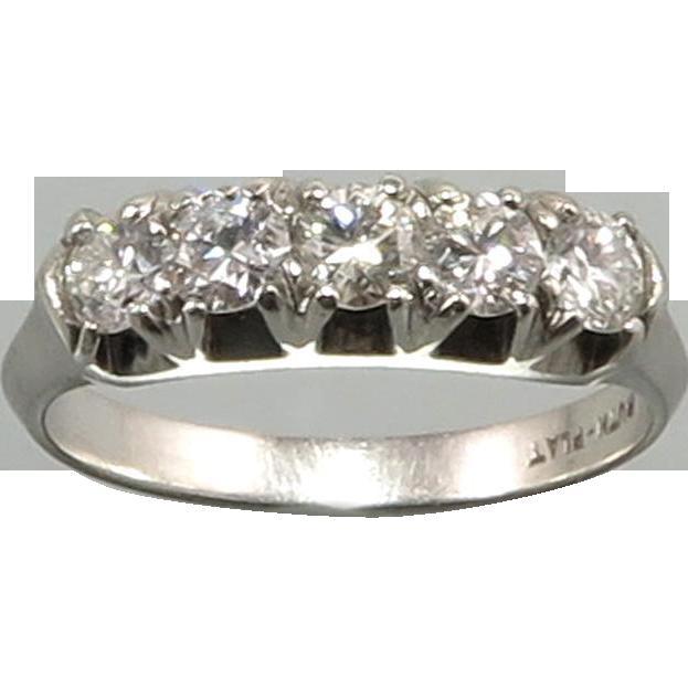 1/2ctw Platinum and Diamond Ring c1940