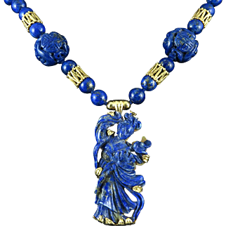 """Chinese Carved Kwan Yin Lapis 14K Necklace Masterpiece 26"""""""