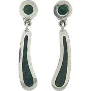 Colorful Malachite and Sterling Silver Dangle Earrings From Taxco