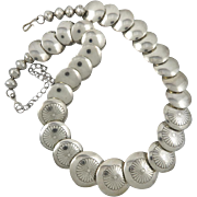 "Southwestern Bench Bead Sterling Silver Necklace 19.5"" Larger Coin Beads"