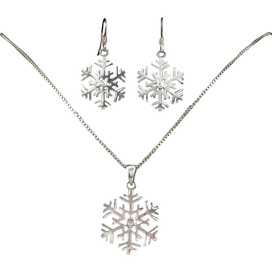 sterling snowflake necklace and earring set from