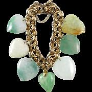 Chunky Jadeite Jade Mixed Heart Charm Bracelet 12K GF