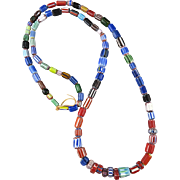 """Colorful Vintage Chevron Glass Bead Collection Necklace 32"""""""
