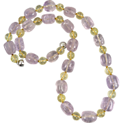 Lavender Amethyst and Citrine Bead Necklace 24""