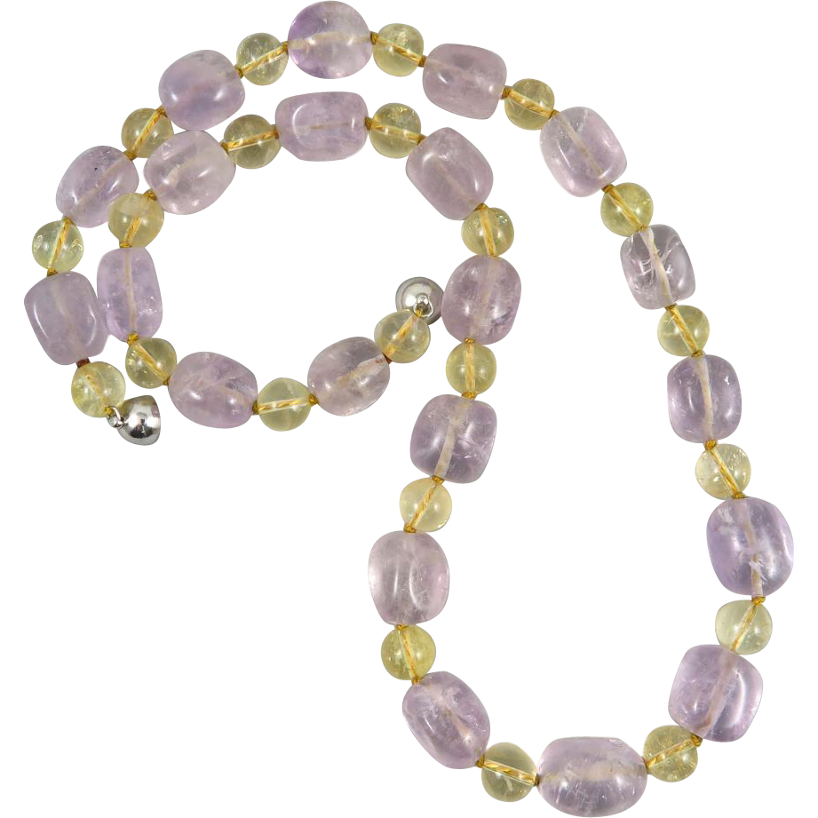 lavender amethyst and citrine bead necklace 24 quot from