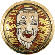 Japanese Satsuma Asian Porcelain Noh Mask Vermeil Ring
