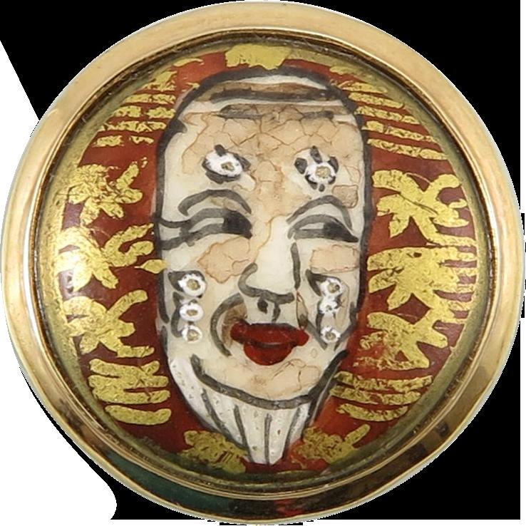 Japanese Satsuma Porcelain Noh Mask Vermeil Ring