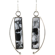Modernist Sterling SIlver and Composite Stone Earrings Signed