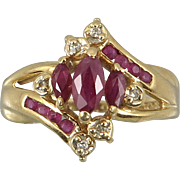 14K Diamond and Natural Ruby Ring