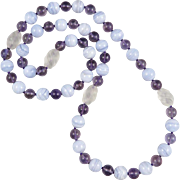 Beautiful Blue Lace Agate, Amethyst and Carved Quartz Necklace 32""