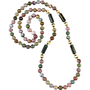 Colorful Indian Agate Necklace 32""