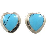 Big Taxco Turquoise Sterling Heart Clip Earrings Signed