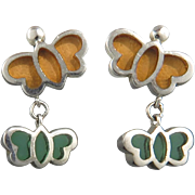 Plique A Jour Enamel Butterfly Sterling Silver Earrings