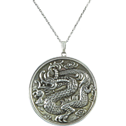 c1970 Ming Sterling Dragon Mirror Pendant Necklace by Reed and Barton Original Box Included