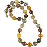 Multi Color Rutilated Faceted Quartz Necklace 20""