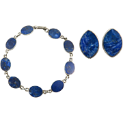 Lapis and 970 Silver Earring and Bracelet Set