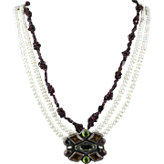 Important Federico Jimenez Pendant Necklace Vintage Garnet Peridot Cultured Pearl and Sterling Silver 31""