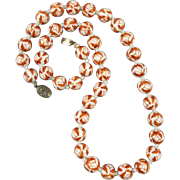 """Vintage Chinese Porcelain Bead Necklace 25"""""""
