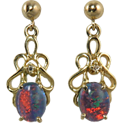 14K Black Opal and Diamond Dangle Earrings