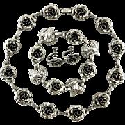 Art Deco Danecraft Sterling Rose Set Necklace Earrings and Bracelet