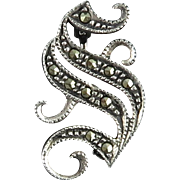 Vintage Sterling and Marcasite Letter S Pin Brooch