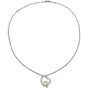 """.29ctw Diamond and 14K White Gold Double Heart Necklace 16"""""""
