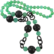 """Chinese Carved Chrysoprase and Obsidian Bead Asian Necklace 31.5"""""""