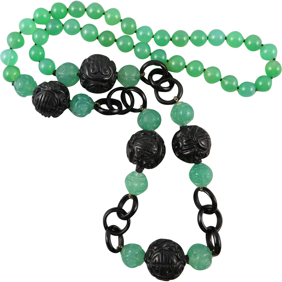 """Chinese Carved Chrysoprase and Obsidian Bead Necklace 31.5"""""""