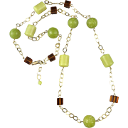 """Carved Serpentine and Lemon Chrysoprase Bead 14K GF Station Style Necklace 39"""""""